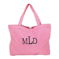 SW181029 - PINK/WHITE GINGHAM SHOPPING BAG
