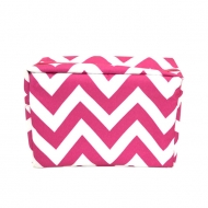 SW181222 - PINK & WHITE CHEVRON COSMETIC BAG