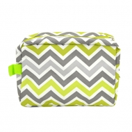 SW181225 - LIME GREEN/WHITE & GRAY CHEVRON COSMETIC BAG