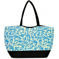 SW180476-AQUA/BLACK FLOWER DESIGN SHOPPING OR BEACH BAG