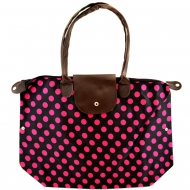 BLACK & PINK POLKA DOTS SHOPPING BAG