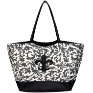 SW180655--DARK GREY FLOWER DESIGN SHOPPING OR BEACH BAG W/BLACK FLEUR DE LIS