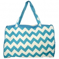 SW180578-AQUA/WHITE CHEVRON DESIGN TRAVEl,BEACH OR SHOPPING TOTE W/POCKETS