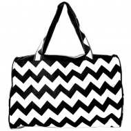 SW180579-BLACK/WHITE CHEVRON DESIGN TRAVEl,BEACH OR SHOPPING TOTE W/POCKETS