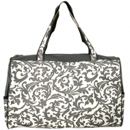 SW180581-GREY/WHITE FLOWER DESIGN TRAVEl,BEACH OR SHOPPING TOTE W/POCKETS