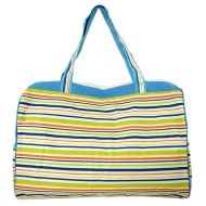 SW180582-MULTI STRIPES DESIGN TRAVEl,BEACH OR SHOPPING TOTE W/POCKETS