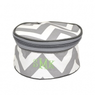 SW181219 - GRAY&WHITE CHEVRON COSMETIC OR JEWELERY BAG
