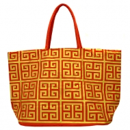 SW181268 - RED/GOLD SQUARE DESIGN SHOPPING OR BEACH BAG