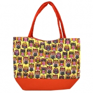 SW181294-OWL - RED/TAN OWL SHOPPING OR BEACH BAG DAMASK DESIGN