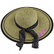 SW180723 - BLACK & TAN FLOPPY  HAT W/ BOW ( MONOGRAM NOT AVAILABLE )