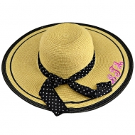 SW180724 -  TAN FLOPPY  HAT W/ BOW ( MONOGRAM NOT AVAILABLE )