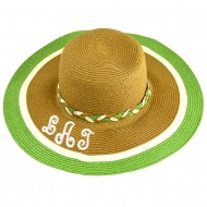 SW180892 - BROWN FLOPPY HAT W/ GREEN & WHITE ( MONOGRAM NOT AVAILABLE )
