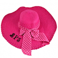 SW180893 - HOT PINK FLOPPY HAT W/ BOW ( MONOGRAM NOT AVAILABLE )