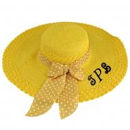 SW180897 - YELLOW FLOPPY HAT W/ BOW ( MONOGRAM NOT AVAILABLE )