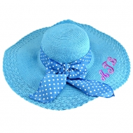 SW180898 - TURQUOISE FLOPPY  HAT W/ BOW ( MONOGRAM NOT AVAILABLE )